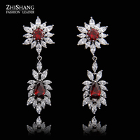 Wedding Souvenir Jewelry Long Drop CZ Crystal Ruby Red Emerald Green Bridal Wedding Chandelier Earrings For