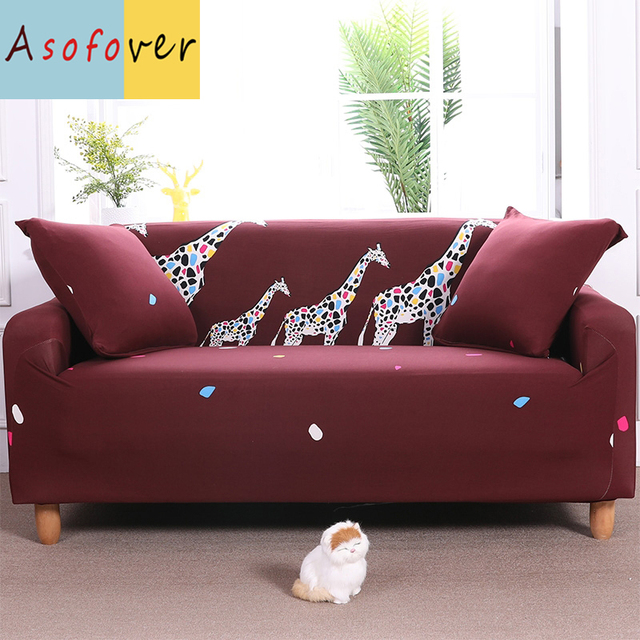 Asofover Red Giraffe Sofa Cover Elastic Slipcover Cubre Stretch Furniture Covers Protector For Living Room