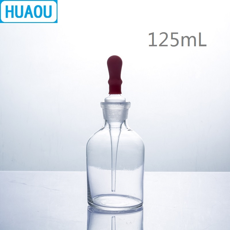 HUAOU 125mL Dropping Bottle Clear Glass With Ground In Pipette And Latex Rubber Nipple Laboratory Chemistry Equipment