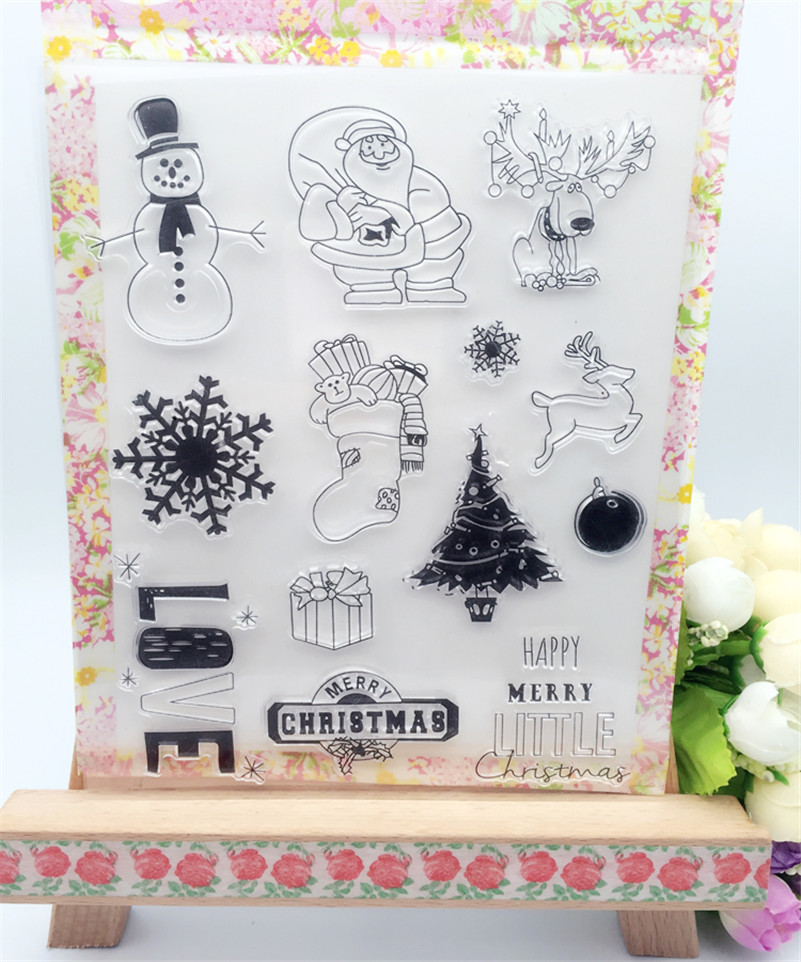 Transparent Clear Rubber Stampmerry christmas tree and snowman Seal Paper for Photo Album Scrapbooking paper Card LL-154