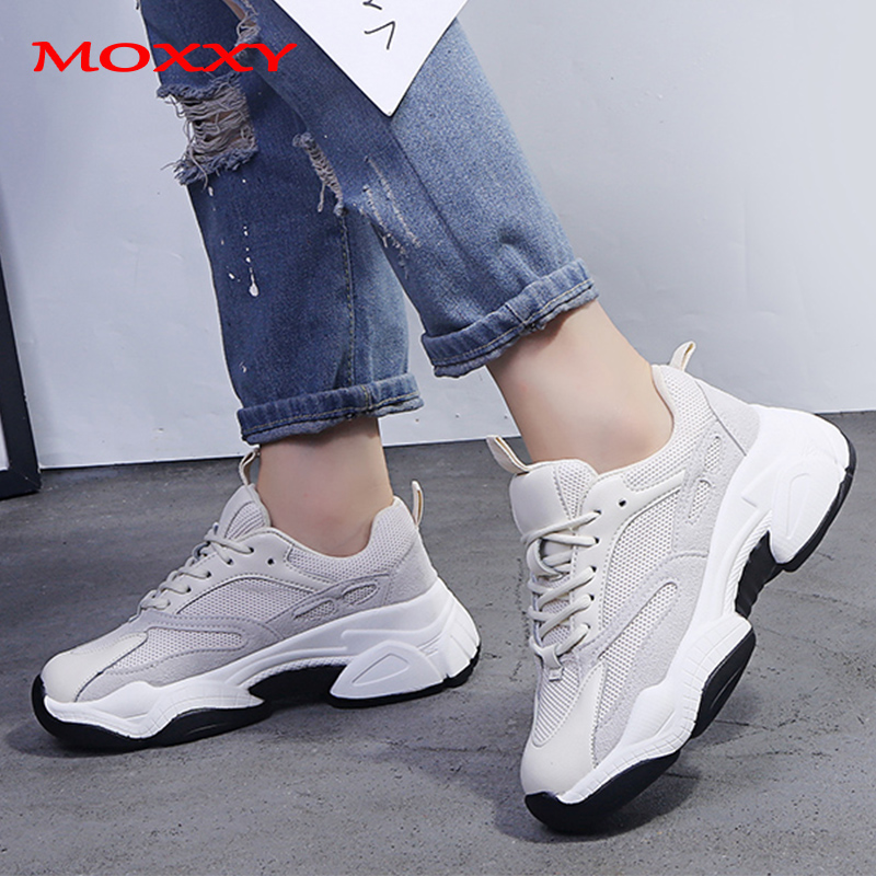 Vintage Trendy Chunky Sneakers Womens Sneakers Ugly Dad Sneaker White Casual Shoes Woman Thick Platform Trainers 2019 zapatillas