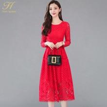 91b2197ad H Han Queen otoño Vestidos mujeres 2018 elegante Sexy ahuecado negro rojo  encaje vestido Vintage largo Línea A Vestidos de fiest.