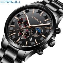 CRRJU для мужчин s часы лучший бренд класса люкс Модные Бизнес Кварцевые часы для мужчин Спорт Полный сталь водонепроница…