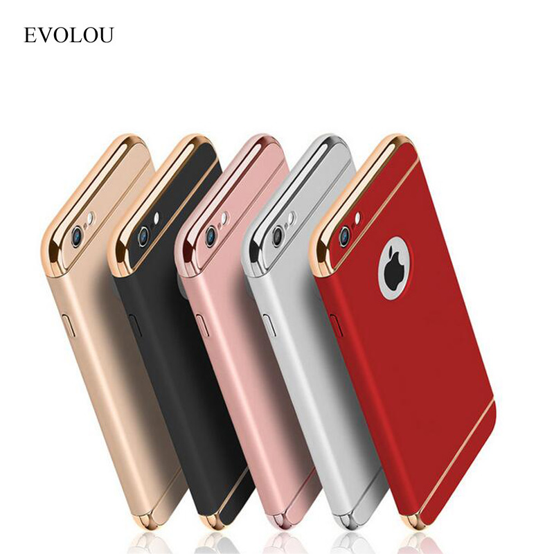 EVOLOU Handyhülle für Iphone 7 Capinhas Ultra Thin Plating Metall 3 in 1 Hard Phone Shell für Iphone SE 5 6s 7 Plus Rückseite