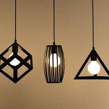Vintage retro colgante lámpara de luces de cubo de metal jaula pantalla iluminación colgante luz lámpara