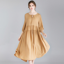 large size Womens fashion casual loose Draped dresses high waist v neck Elegant dress Mid sleeve spring new High-end Red