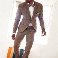 Nieuwste Jas Broek Ontwerpen Bruin Tweed Custom Bruidegom Tuxedo pak Wedding Suits Voor Mannen Slim Fit 2 Stuks Terno Jas + broek