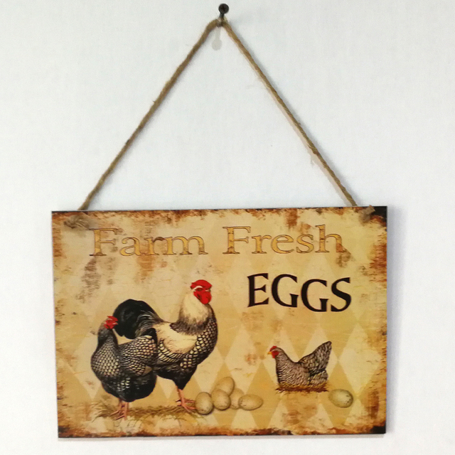 Us 576 34 Offvintage Cock Farm Fresh Eggs Letter Wooden Plaque Wooden Signs Wall Decor Hanging Pendant Board For Farm Ranch Plank Decoration In