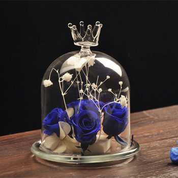 Free Shipping 2sets/pack Crown Top Glass Dome Vase Glass Base Glass Cover Microscape Terrarium Glass Gifts Wedding Decoration