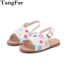 Girls Beach Sandals Summer 2019 Leather Korean Baby Sweet Slippers Fashion  Toddler Soft Children Shoes EU 5d18607932d3