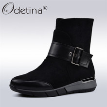 Odetina Flock Leather Casual Women Boots Comfortable Flat Heel Zipper Fashion Buckle Women Ankle Boots Autumn Winter Big Size 41
