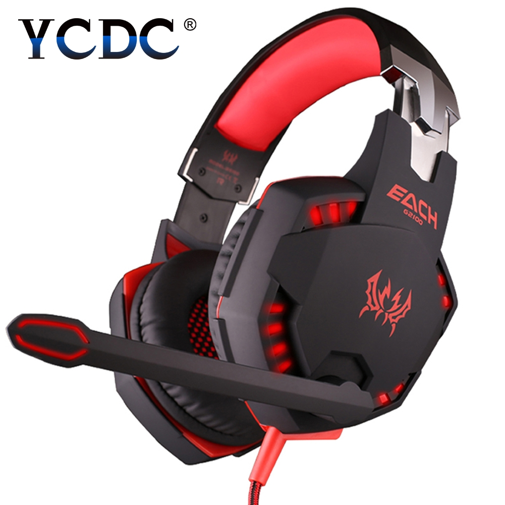 YCDC EACHG2100 Gaming Headset Stereo Bass Sound Vibration 2.2m Wired Headphone Noise Reduction Microphone LED Light for PC Gamer each g4000 gaming headset stereo music headphone 2 2m wired headband earphone w microphone led light anti noise for computer pc
