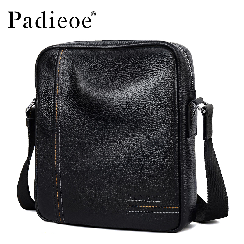 Padieoe Genuine Leather Business Men's Messenger Bag Casual Shoulder Crossbody Bag for Male Famous Brand Fashion Travel Men Bags padieoe men shoulder bags genuine leather briefcase brand men s messenger bag business casual travel crossbody bags free ship
