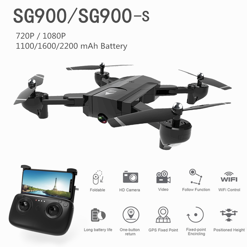SG900 GPS RC Drone with Camera 720P/1080P HD Wifi FPV 10/20/22 Minutes Flight Time Altitude Hold Foldable SG900-S RC Quadcopter