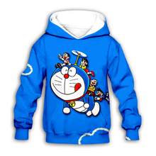 цена на Cartoon Nobita Nobi Doraemon 3D printed Kids blue hoodies sweatshirt fashion baby boy girl hoodie casual streetwear set pullover