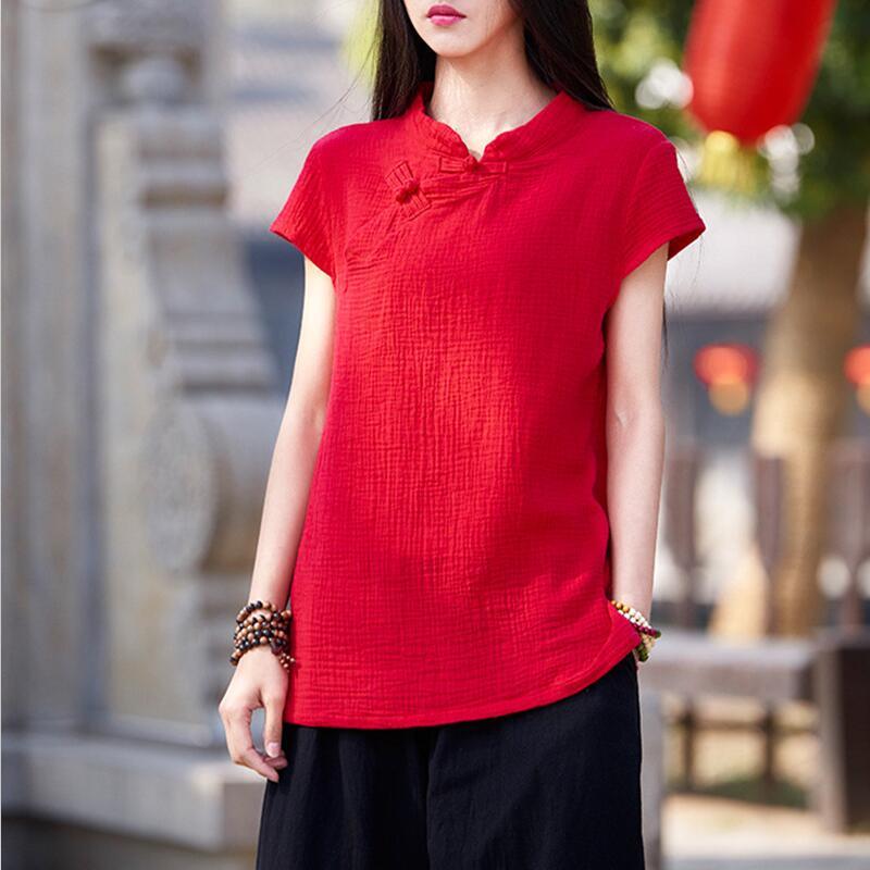 Plus Size Women Blouse 2020 Chinese Style Vintage Cotton Linen Blouses Elegant Big Size S-6XL Casual Basic Blusa Feminina