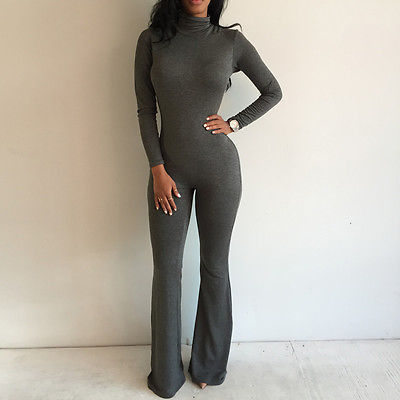 Preself Fall Winter fashion Sexy Women Celeb Long Sleeve Shirt Jumpsuit Long Flared Legging Playsuit plus size rompers