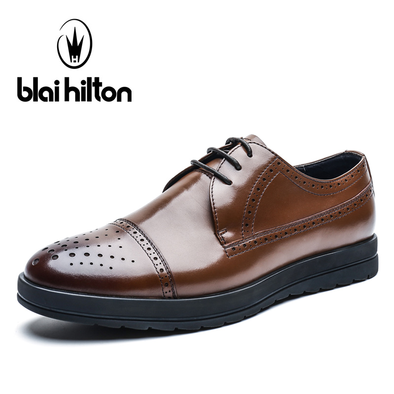 Blaibilton Formal Dress Men Shoes Genuine Leather Brogue Business Classic Office Wedding Mens Casual Oxford Italian Thick Sole top quality crocodile grain black oxfords mens dress shoes genuine leather business shoes mens formal wedding shoes