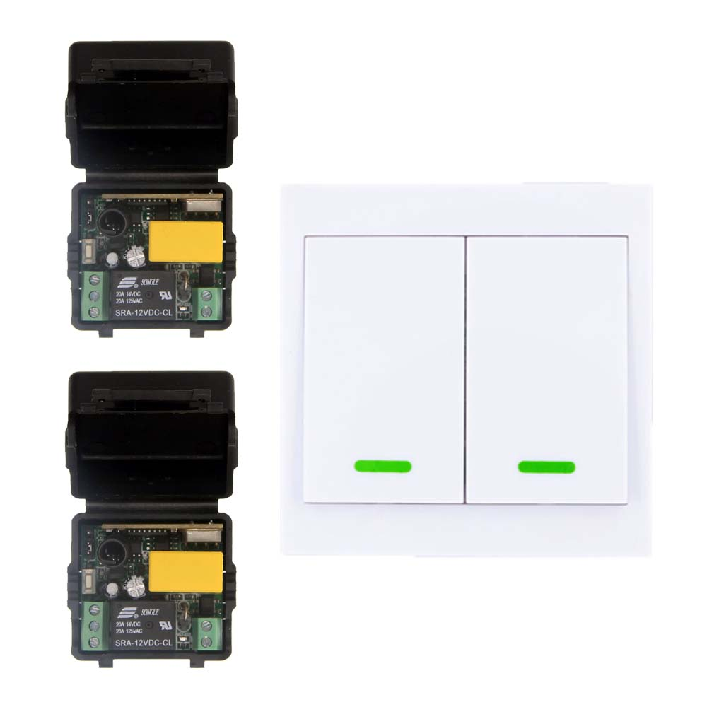 Home 220V 1CH RF Wireless Remote Control Switch System For LED Stairs Ceiling Light Strips,Receiver + 2CH 86 Wall Transmitter wireless switch with controller 220v 2ch system wireless receiver