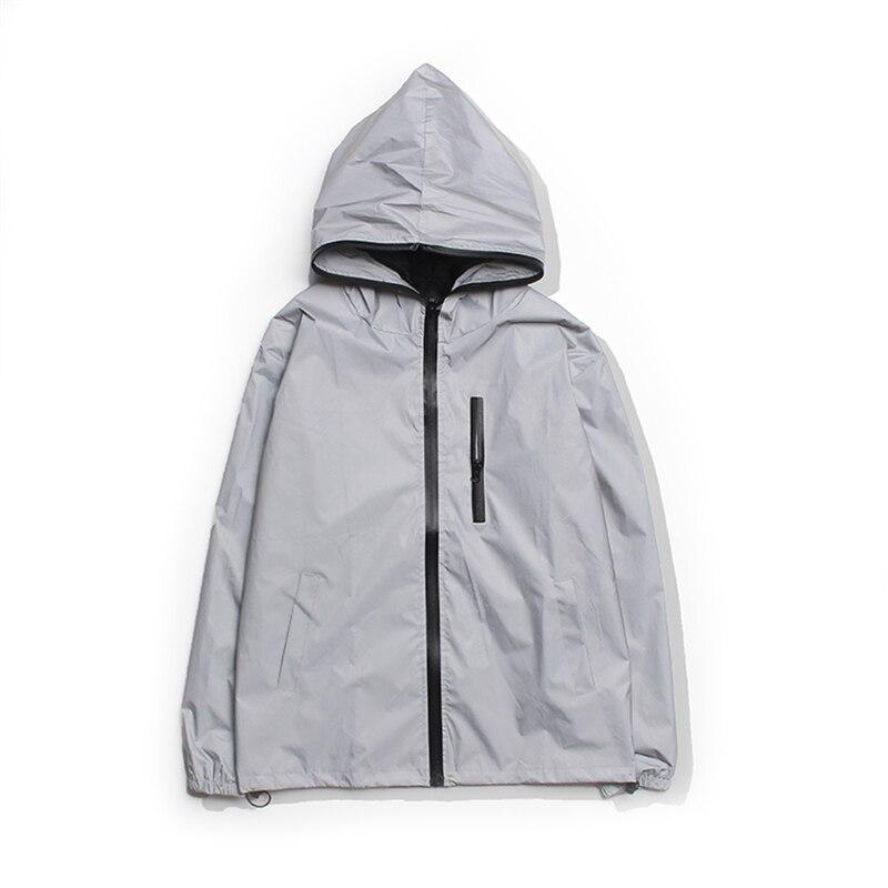 Plus Size 4XL Men Spring Autumn full reflective Windbreaker waterproof Jacket male High street hip hop Loose Hooded Coats 8