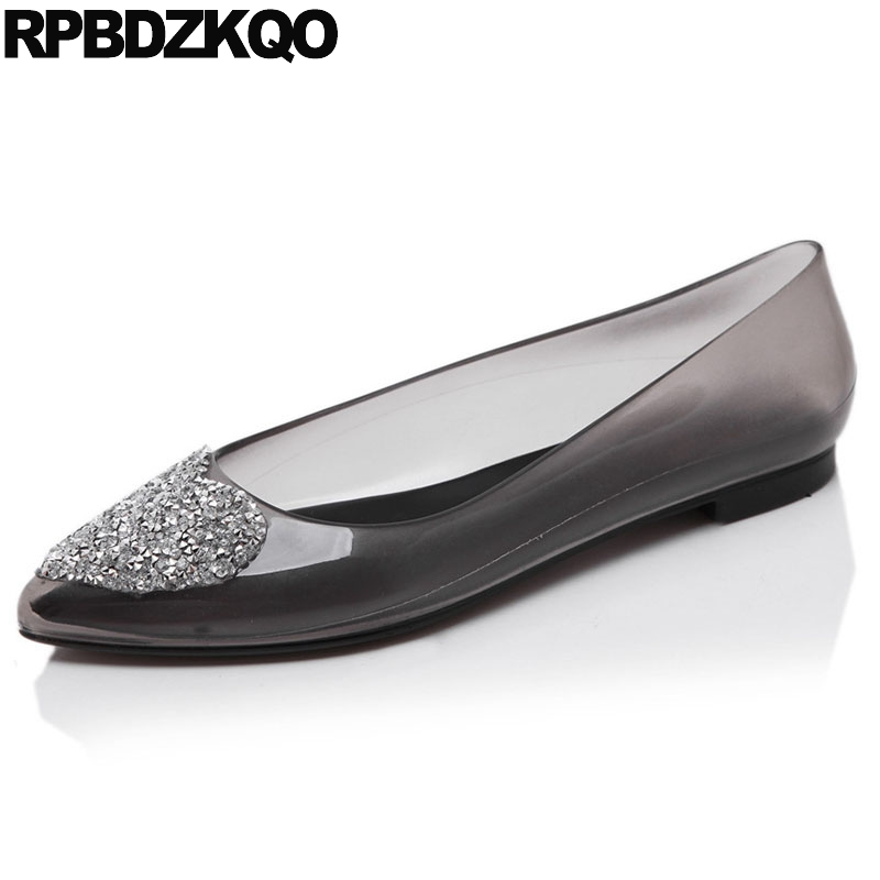 b4b13a579 Pink Bling Cheap Women Pointed Toe Black Rhinestone Large Size Crystal  Jelly Heart Ladies Beautiful Flats Shoes Transparent-in Women s Flats from  Shoes on ...