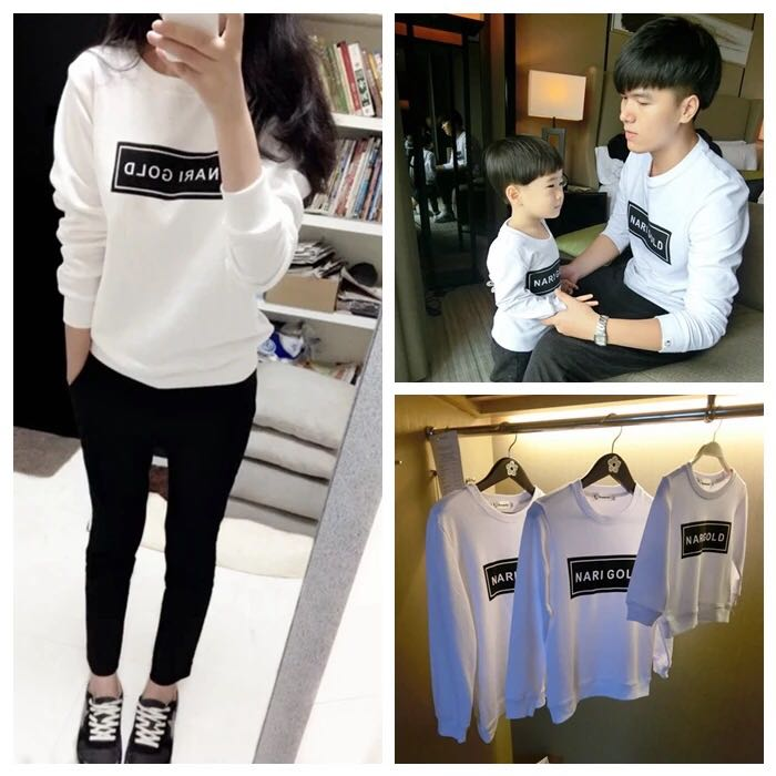 Autumn and winter family fashion plus velvet sweatshirt fashion long-sleeve letter all-match clothes for mother and son clothes