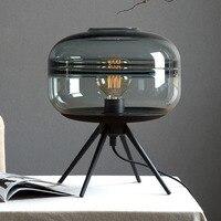 Современное американское Стекло Настольная лампа креативная прикроватная лампа для спальни коричневая синяя серая стеклянная лампа с аба