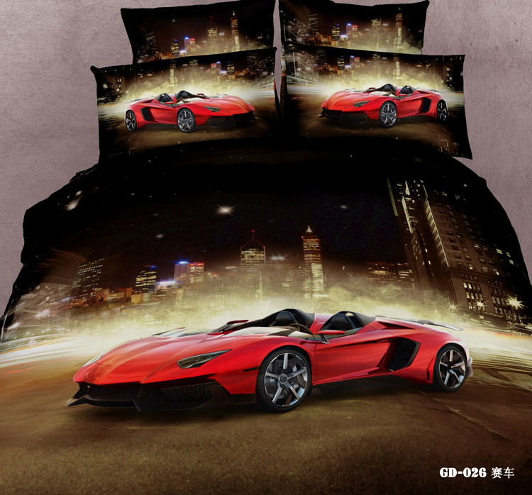 7pcs 3D Race cars bedding set California king queen size quilt duvet cover bed in a bag fitted sheet bedspread linen 100% cotton