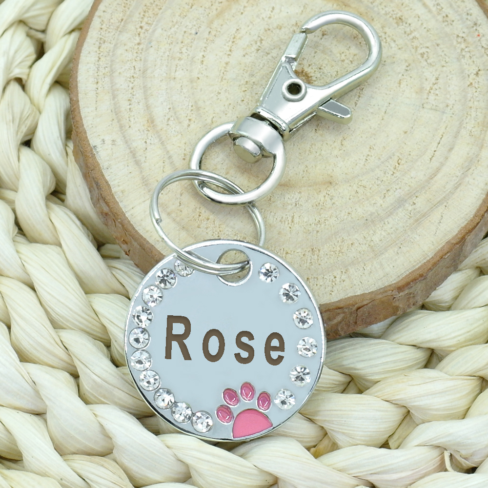 Custom Dog Tag Engraved Pet Dog Collar Accessories Personalized Cat Puppy ID Tag Stainless Steel Paw Name Tags Pendant Anti-lost 2