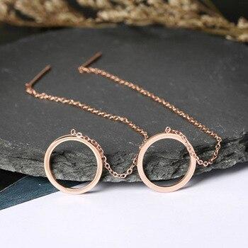 Smjel 스테인레스 스틸 서클 드롭 귀걸이 여성 라운드 threader 귀걸이 긴 귀 라인 체인 귀 패션 earings 쥬얼리
