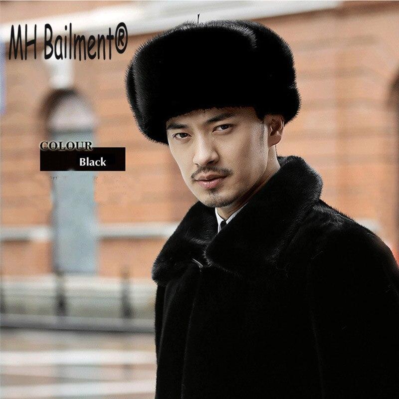Hats Caps Earmuffs-Cap Mink-Fur Bomber Russian Winter Real Luxury Warm Men H--03 Casual-Fur