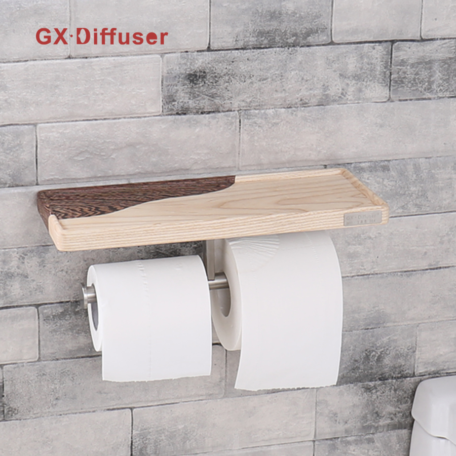 GX Diffuser Paper Holder Stainless Steel Double Roll Toilet Paper Holder Bathroom Toilet Holder with Multifunctional Shelf luxury golden color toilet paper holder wall mounted roll toilet paper rack with cover bathroom accessories free shipping 3308