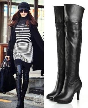 2b3127dd525 Women s Genuine Leather Platform Over Knee Thigh High Heel Boots Plus Size  US 5-9.5(SH033)