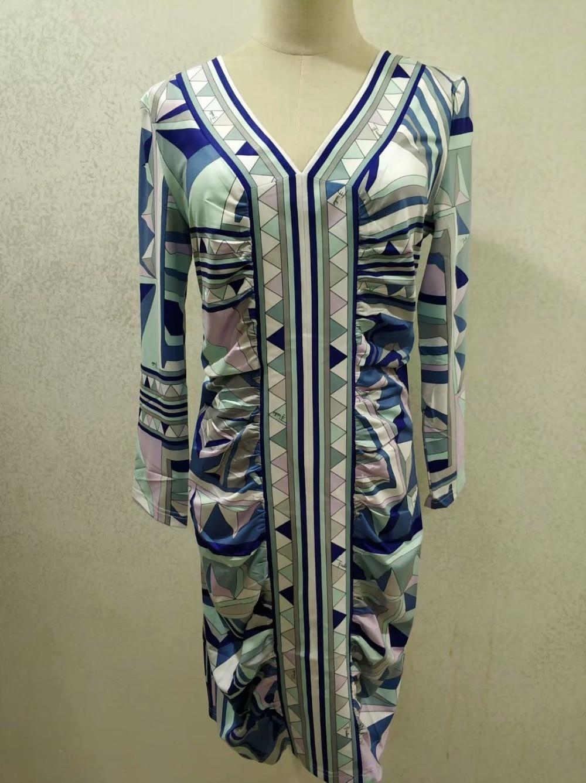 Mode V cou Élastique Belle Géométrique De À Soie Européen Efatzp Jersey Imprimé Femmes Robe Tricoter qtFwTWaIIx