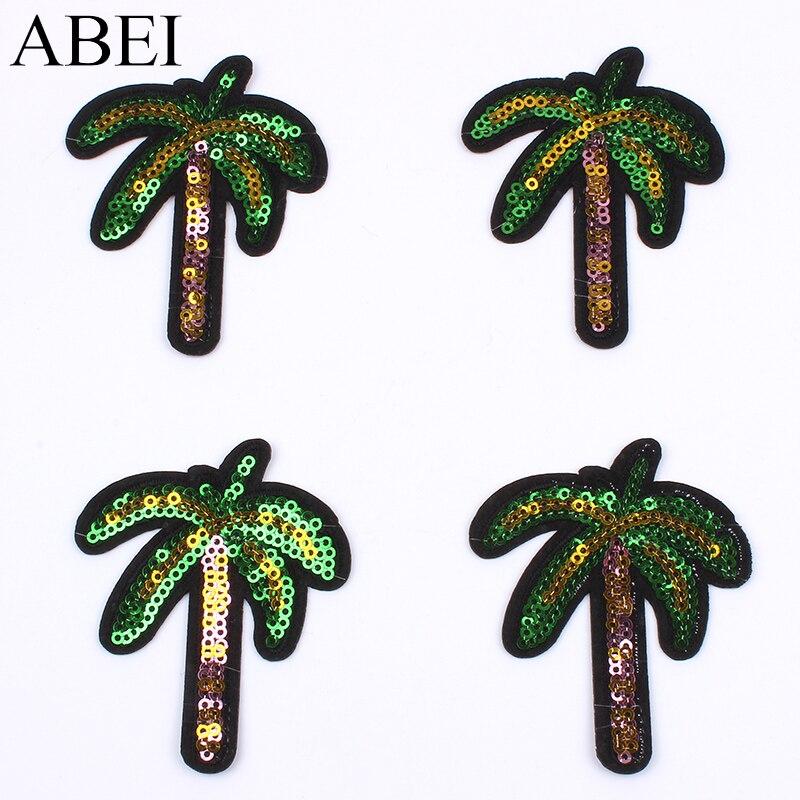 10pcs/lot Cartoon Coconut Tree Patch Sequined <font><b>Palm</b></font> Stickers Clothes Backpack <font><b>Jeans</b></font> Coats Appliques DIY Iron On Garments Badge