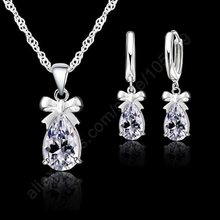 Latest Gift Set 925 Real Sterling Silver With White Cubic Zirconia Dangle Earring Pendant Necklace Woman Jewelry Set