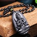 Alta Calidad Natural Negro Obsidiana Tallada de Buda de la Suerte Amuleto Colgante de Collar Para Las Mujeres de Los Hombres colgantes de Jade de La Joyería 48*32mm