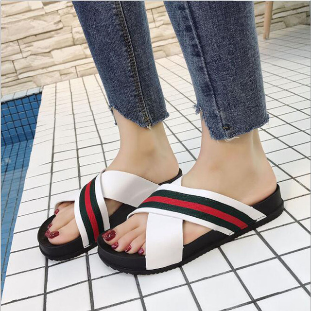 028e7a4cf Women Slippers Silk Bow Slides Summer Beach Shoes Woman No Fur Slippers  Flat Heels Flip Flops Ladies Rihanna Bohemia Sandals