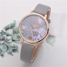 Fashion Leather Ladies Watch with Unique Flower Dial Casual Wrist Watch for Women Quartz Clock Female Gift zegarek damski