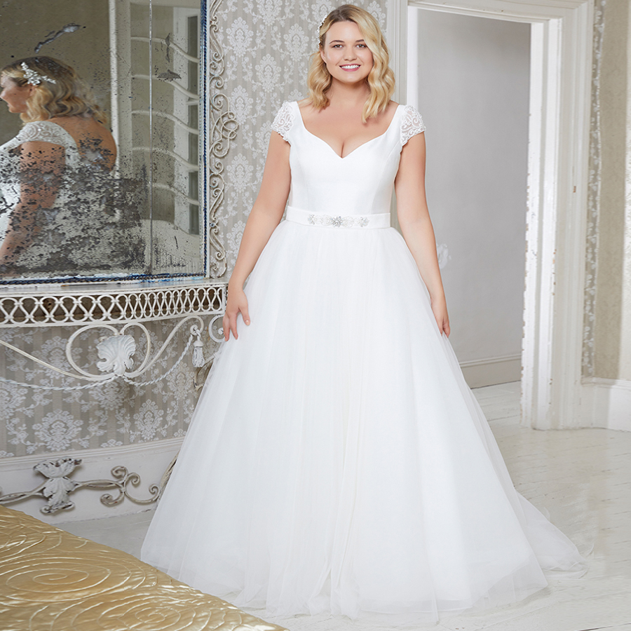 ADLN Elegant Cap Sleeve Plus Size Wedding Dresses Vestido De Novia Sleeveless Beading Sequin Tulle A-line Bridal Gowns