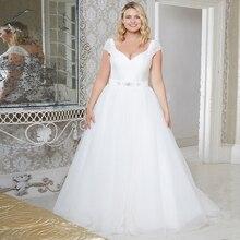 Jiayigong elegante boné manga plus size vestidos de casamento vestido de novia sem mangas miçangas lantejoulas tule a linha vestidos de noiva