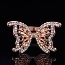 Fashion Hollow Rose Gold Plated Butterfly Rings for Women Pretty Micro crystal Rings Jewelry