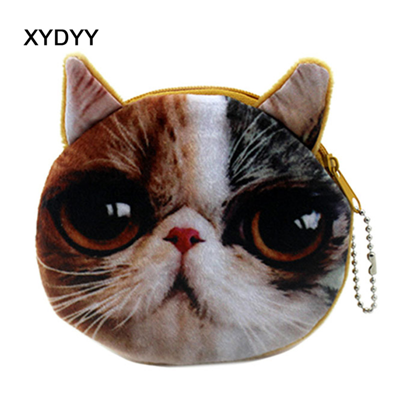 XYDYY Kawaii Simulation Cats Print Women Plush Coin Purse Zip Change Purse Mini Card Holder Protable Pouch Female Wallet Handbag temptations mixups surfers delight flavor treats for cats pouch mega bag