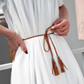 Nueva moda tejidas a mano cinturones delgados para mujer la borla de cintas decorativas accesorios de la cuerda tejida correa