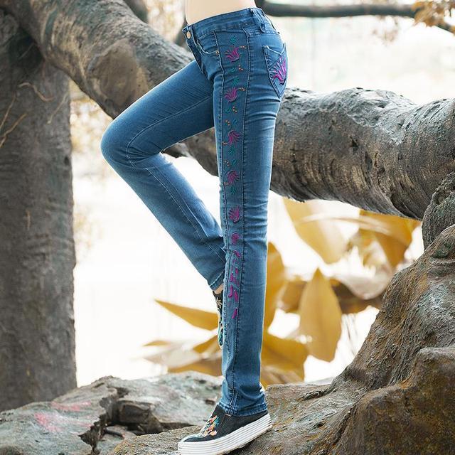 Mulheres Calça Jeans Tamanho Grande de Cintura Alta Outono Primavera Verão Azul Longas Elásticas Skinny Slim Calças Jeans Para Mulheres 26-31