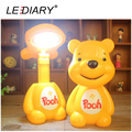 LEDIARY Quality Bear Cartoon LED Rechargeable Desk Lamp Student Foldable Table Light Flexible Length Eye-protection For Reading