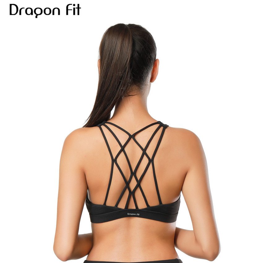 Dragon Fit Women Sports Bra For Running Gym Wire Free Shakeproof Push Up Yoga Bra Female Seamless Underwear Fitness Sport Top push up lace up seamless underwear bra set