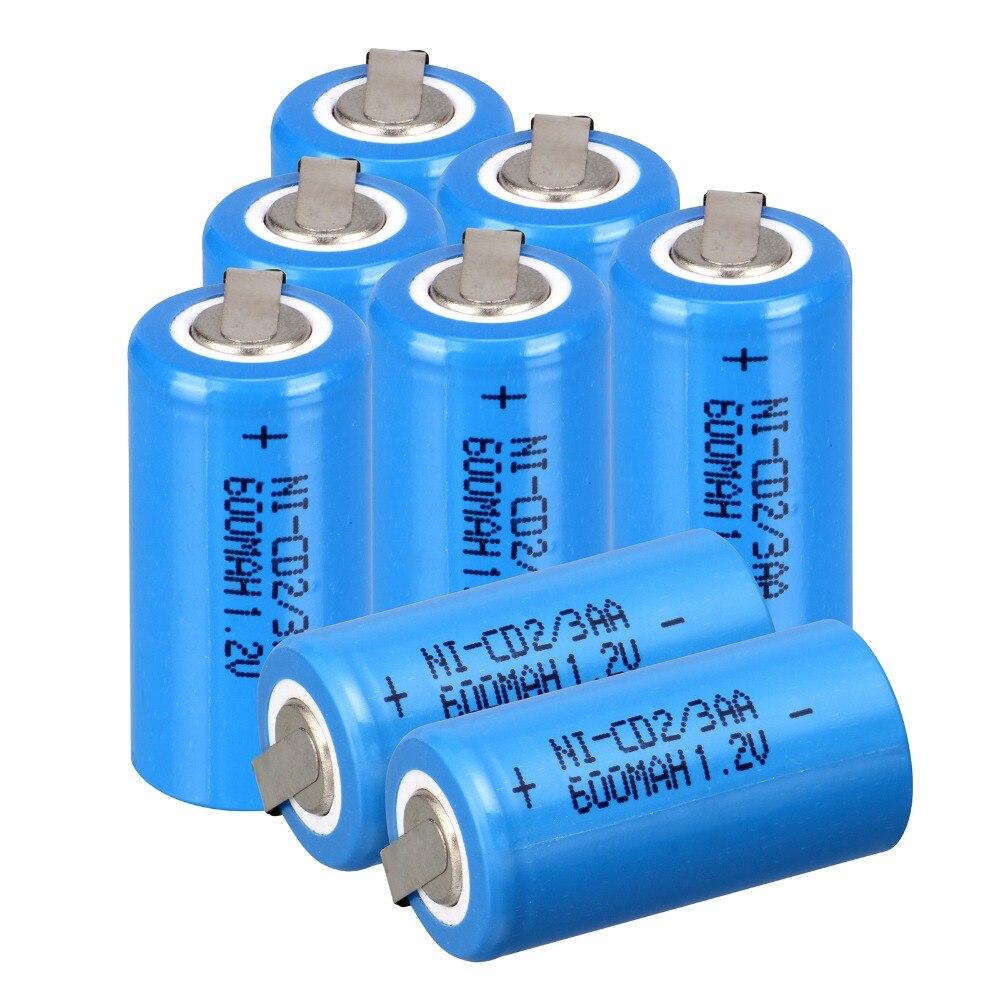 8 шт. Ni-Cd 1.2 В 2/3aa перезаряжаемый аккумулятор NiCd Батареи-синий <font><b>600</b></font> мАч