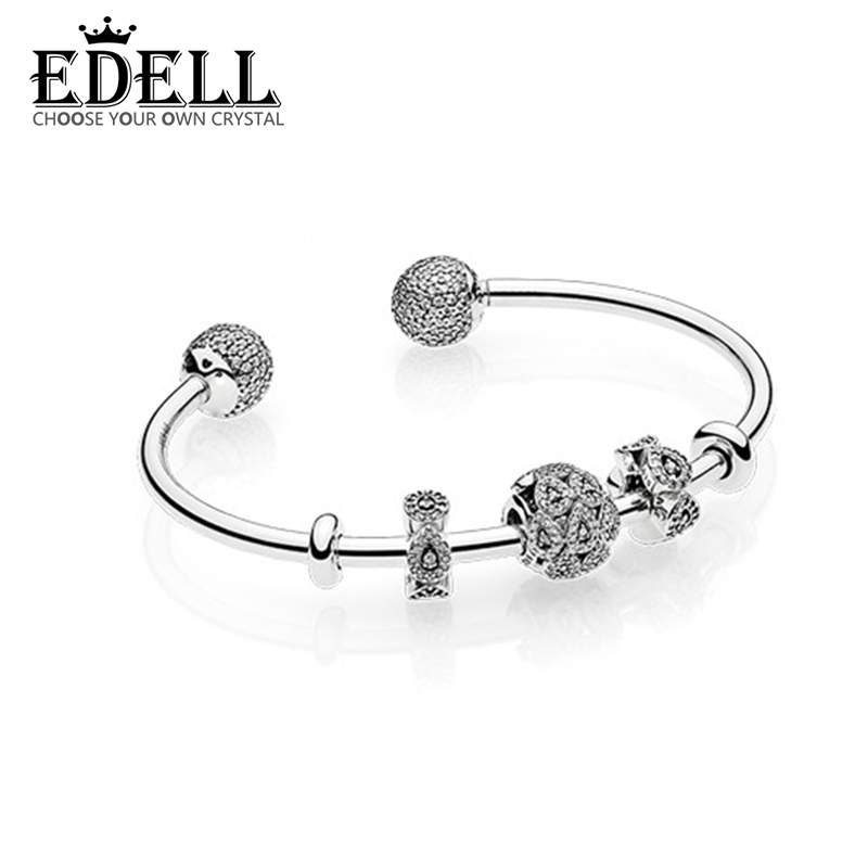 EDELL Bracelet Round 6.5mm Wide Girl Bracelet Zirconia Prong Setting Sport Tennis Bracelets For Women Jewelry Gifts Free Shippin