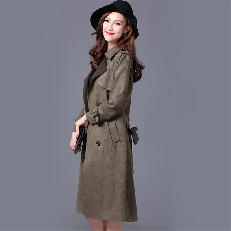Autumn Plus Size S-6XL Suede Solid Color Women Coat Female Over Knee Thick Long Trench Coat Slim Elegant Windbreaker MZ2877